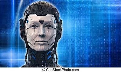 אישה, טפט, -, רובוט, השבה, רקע, טכנולוגיה, 3d