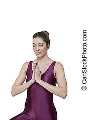 אישה, יוגה, מהודר, התאמן, הפרד, צעיר, רקע, לבן