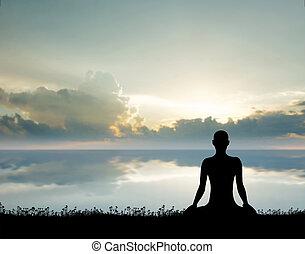 אישה, יוגה, עלית שמש, morning., צללית, התאמן, meditation.