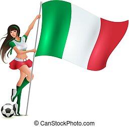 אישה, יופי, דגלל, לבה, להחזיק, כדורגל, איטלקי