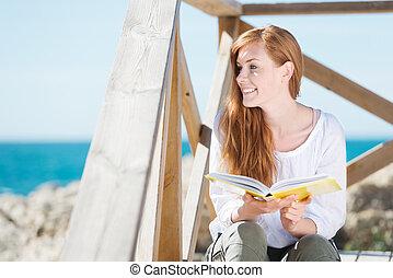 אישה, ים, הזמן, להרגע