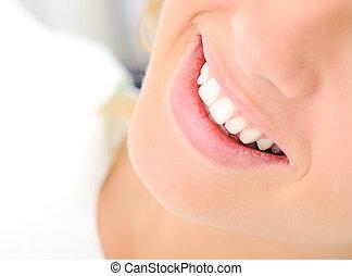 אישה יפה, בריא, צעיר, שיניים, חייך