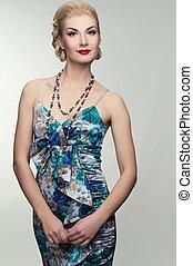 אישה יפה, ב, קיץ, dress.