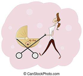אישה יפה, לדחוף, צעיר, עגלה, תינוק, דמות