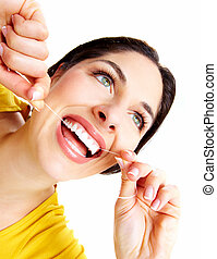 אישה יפה, עם, a, של השיניים, floss.