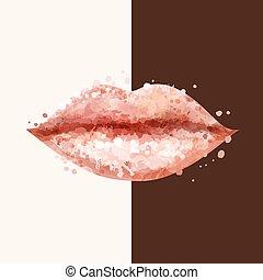 אישה יפה, תקציר, יצור, שפתיים, blots