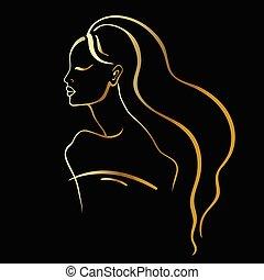 אישה, יפה, portrait.