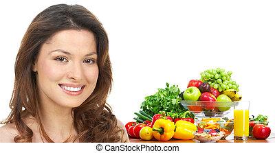 אישה, ירקות, מיץ, פירות