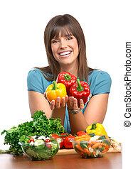 אישה, ירקות, פירות
