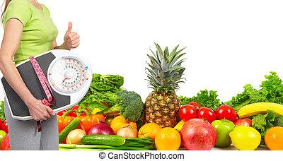 אישה, ירקות, רזה, פירות