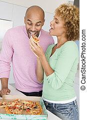 אישה, לאכול, בעל, פיצה