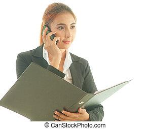 אישה, להשתמש, a, חכם, טלפן