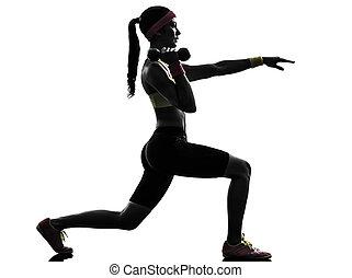 אישה, להתאמן, כושר גופני, מזנק, אימון, צללית