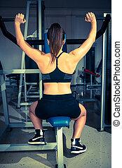 אישה, לעבוד, -, כושר גופני, פעיל, ילדה, out