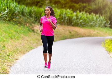 אישה, סגנון חיים, אנשים, רץ, בחוץ, -, אמריקאי, בריא, ריצה באיטיות, כושר גופני, אפריקני