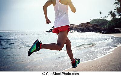 אישה, סגנון חיים, בריא, צעיר, טרופי, לרוץ, כושר גופני, החף