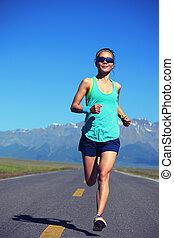 אישה, סגנון חיים, בריא, צעיר, רץ, לרוץ, כושר גופני, דרך