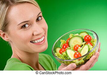 אישה, סגנון חיים, סלט, בריא, -, להחזיק, ירק