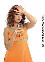 אישה, עייף, צעיר, מיץ, תפוז, לשתות