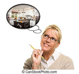 אישה, עם, מחשבה, בועות, של, a, חדש, מטבח, עצב