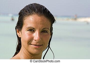 אישה, עם, עיניים חומות, ו, שיער