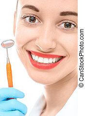 אישה, עם, ראי של השיניים, בלבן, רקע