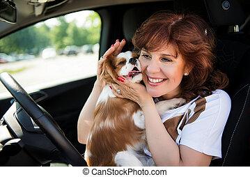 אישה, עם, שלה, כלב, במכונית