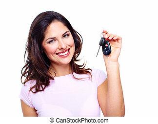אישה, עם, a, מכונית, keys.