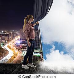 אישה, עננים, דוחף, צעיר מסתכל, וילון