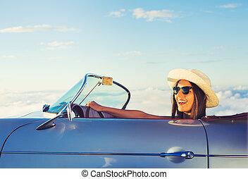 אישה צעירה, ב, קלאסי, בציר, מכונית ספורט