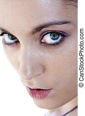 אישה צעירה, עם, עיניים יפות