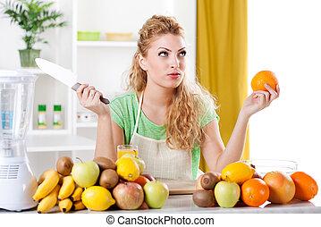 אישה, צעיר, מטבח