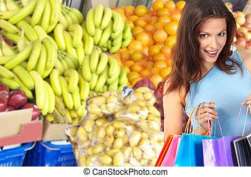אישה, קניות, ירקות, פירות