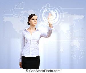 אישה של עסק, ו, touchscreen, טכנולוגיה