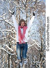 אישה שמחה, לקפוץ