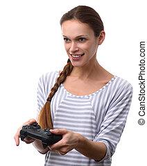 אישה שמחה, לשחק משחקי וידאו, עם, gamepad