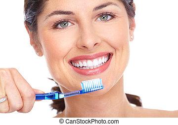 אישה שמחה, עם, a, toothbrush., של השיניים, care.