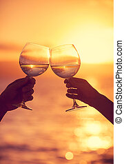 אישה, שמיים, לצלצל, משקפיים, דרמטי, שקיעה, רקע, יין,...