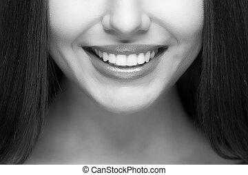 אישה, smile., שיניים, whitening., של השיניים, care.