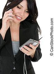 אישת עסקים, לטלפן, a, לקוח