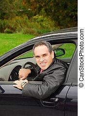 איש, במכונית