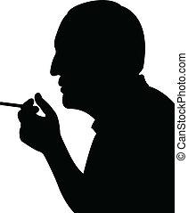 איש מעשן, וקטור, צללית