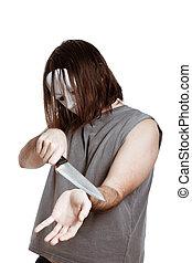 איש, מפחיד, התאבד, סכין, להשתדל