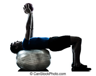 איש מתאמן, אימון, כדור של כושר הגופני, מעמד גוף