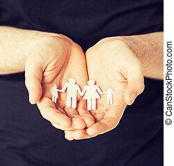איש, נייר, גברים, ידיים