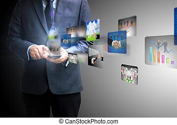 איש עסקים, להחזיק, סוציאלי, תקשורת