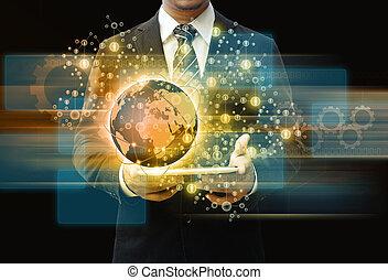 איש עסקים, להחזיק, קדור, טכנולוגיה, מושג של עסק