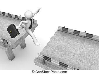 איש עסקים, מעל, לקפוץ, פרצה של דרך