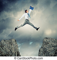 איש עסקים, מעל, לקפוץ, פרצה