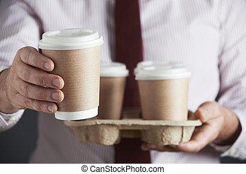איש עסקים, קפה, מגש, להחזיק, טאקאיוואי